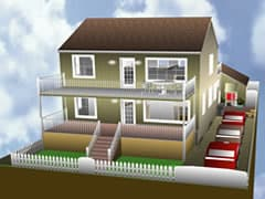 computer rendering of home with added two-story porch